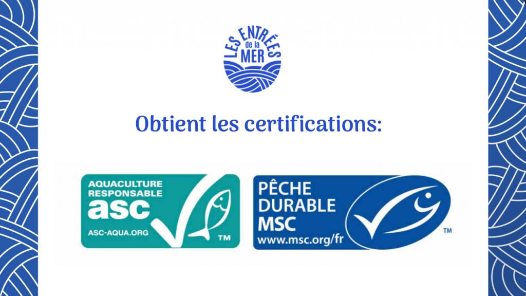 Labels ASC & MSC | Traiteur de la mer | Les entrées de la mer